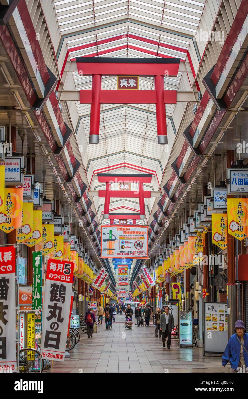 Japan, Asia, Kansai, Osaka, City, Tenjimbashisuji, architecture, colourful, fall, shopping, street, touristic, traditional, - Stock Image