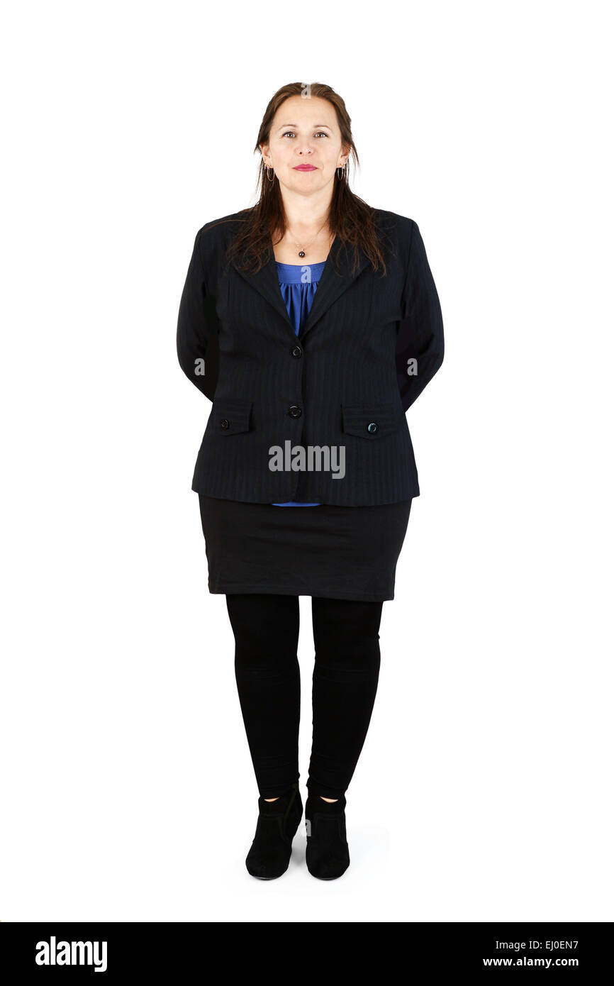 Full body shot of professional middle-aged woman on white - Stock Image