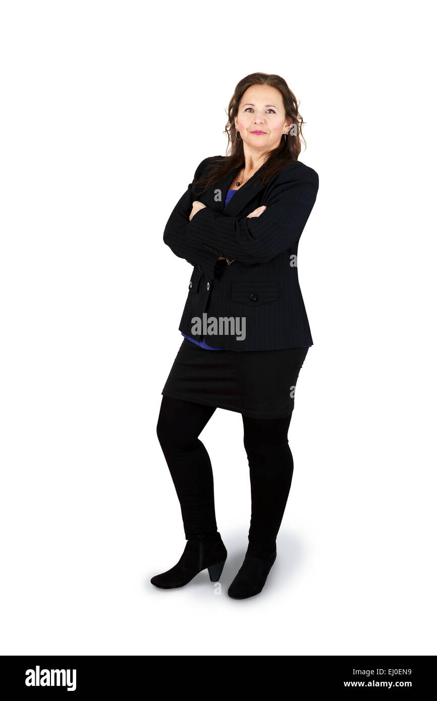 Full body shot of successful professional middle-aged woman on white - Stock Image