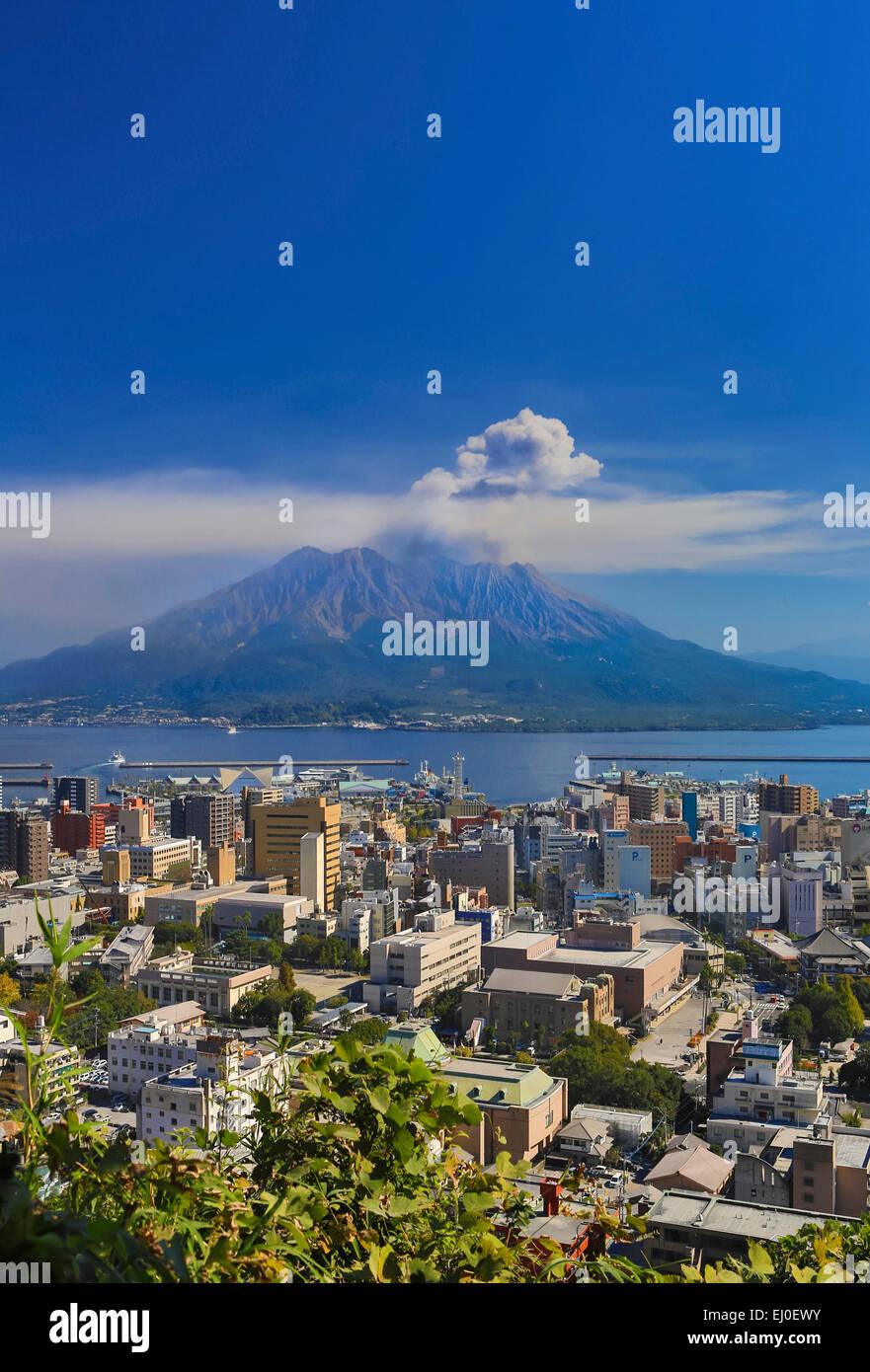 City, Japan, Asia, Kagoshima, Kyushu, Landscape, Sakurajima, Volcano, active, colourful, mountain, fall, island, - Stock Image