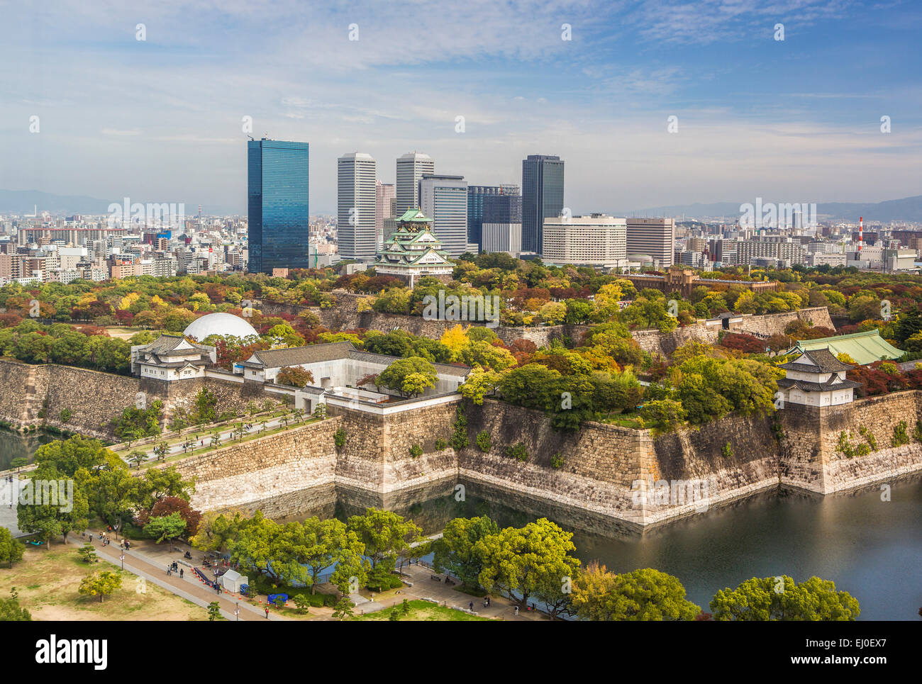 Japan, Asia, Kansai, Landscape, Osaka, Castle, architecture, colourful, fall, fortress, history, no people, panorama, - Stock Image