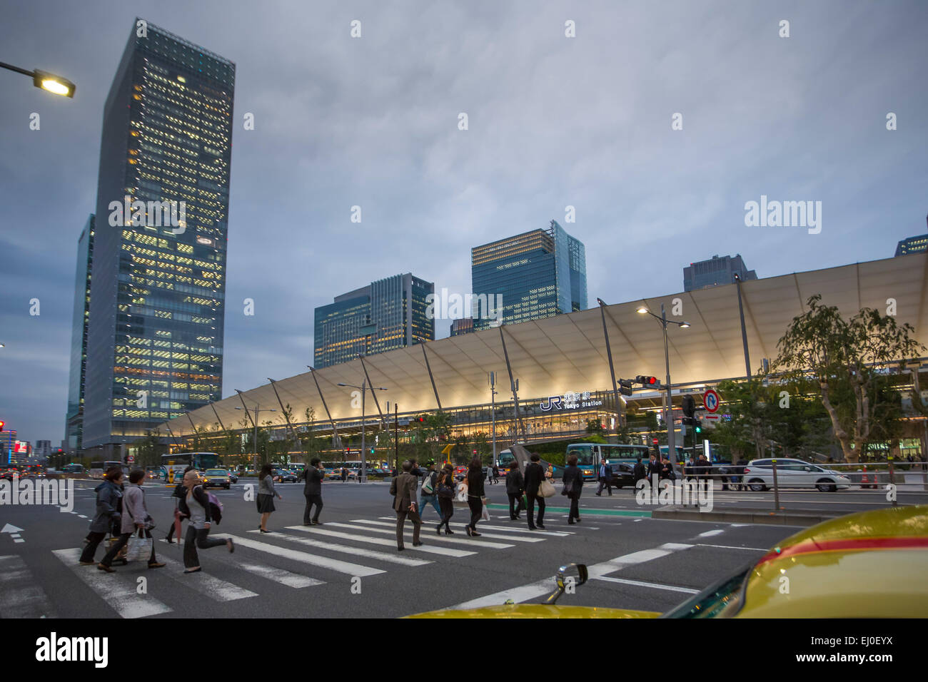 City, East side, Japan, Asia, Landscape, Station, Tokyo, architecture, colourful, crossing, downtown, pedestrian, - Stock Image