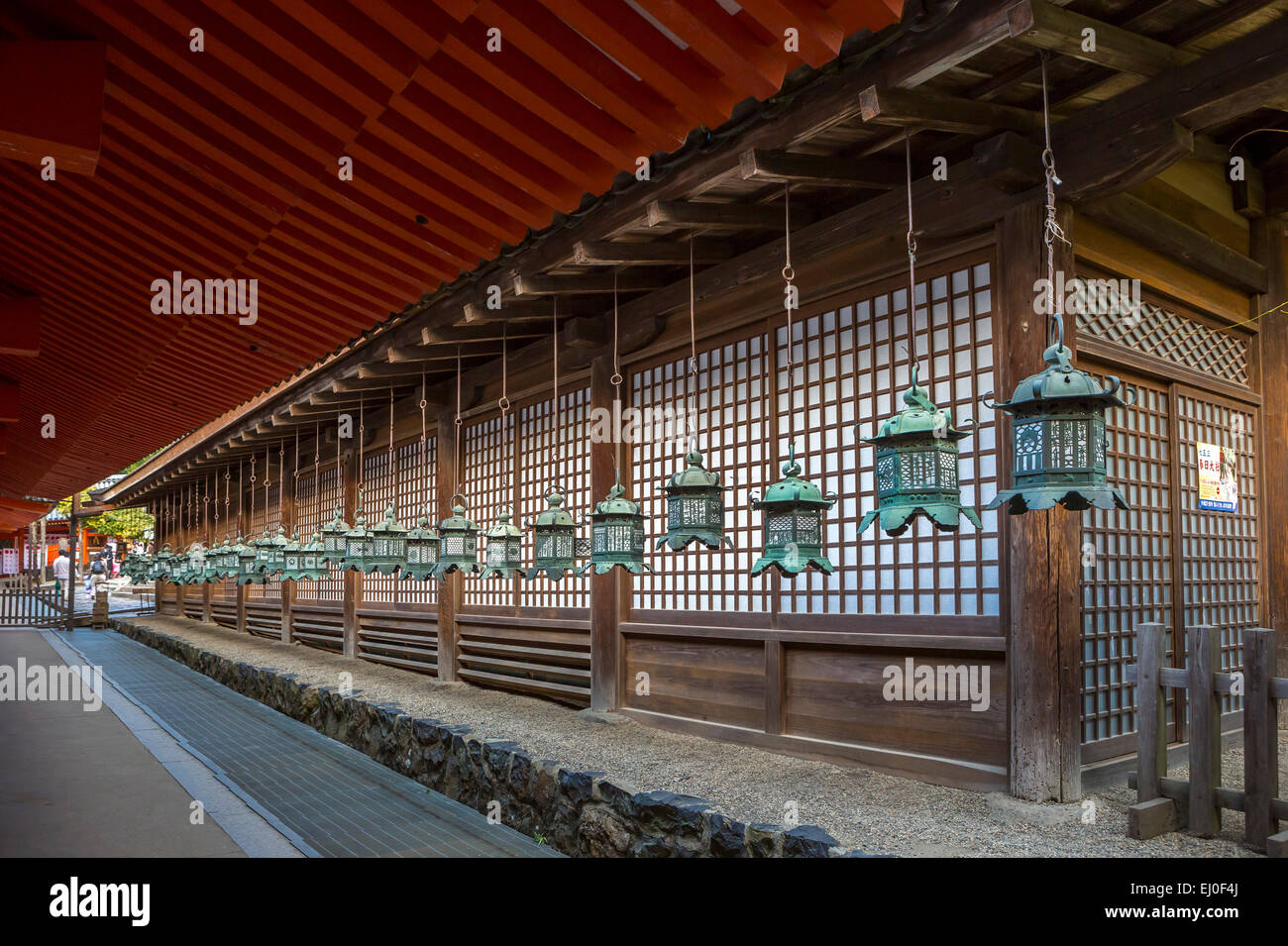 world heritage, City, Japan, Asia, Kansai, Kasuga, Nara, architecture, colourful, history, lanterns, no people, - Stock Image