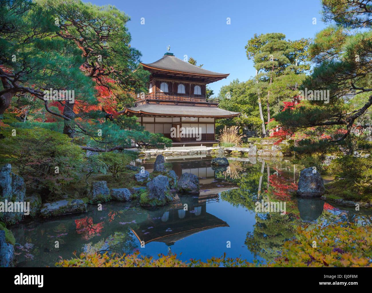 world heritage, Ginkaku-ji, Japan, Asia, Kansai, Kyoto, Japanese, Landscape, architecture, colourful, fall, garden, - Stock Image