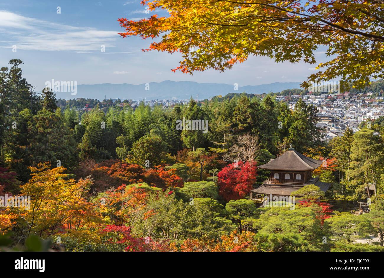 world heritage, Ginkaku-ji, Japan, Asia, Kansai, Kyoto, Japanese, Landscape, architecture, autumn, colourful, fall, - Stock Image