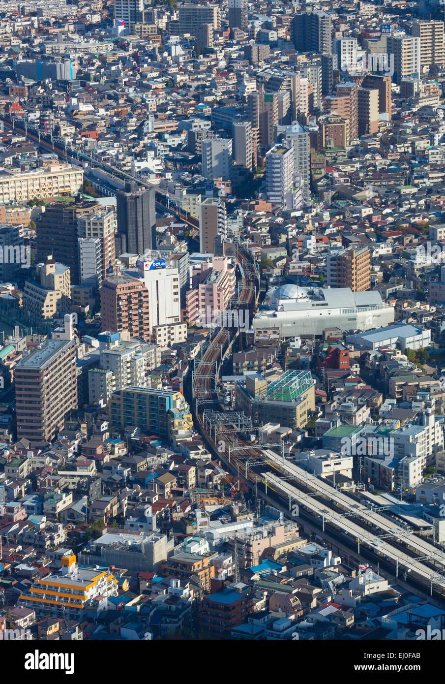 Japan, Asia, Kanto, Keisei Oshiage, Tokyo, City, aerial, fall, railroad, train, transport, urban - Stock Image