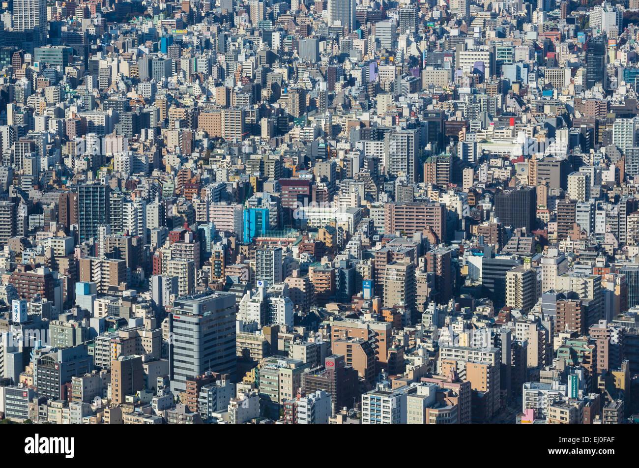Japan, Asia, Kanto, Taito ku, Tokyo, City, aerial, architecture, building, metropolis, no people, urban - Stock Image