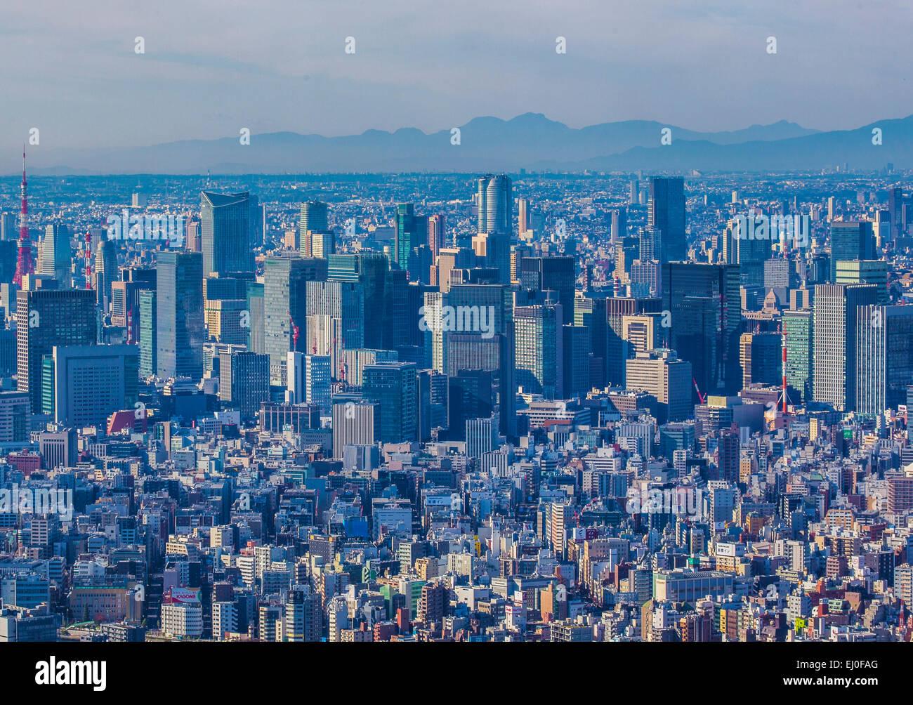 Central Tokyo, Japan, Asia, Kanto, Otemachi, Tokyo, City, aerial, architecture, downtown, fall, marunouchi, skyline, - Stock Image