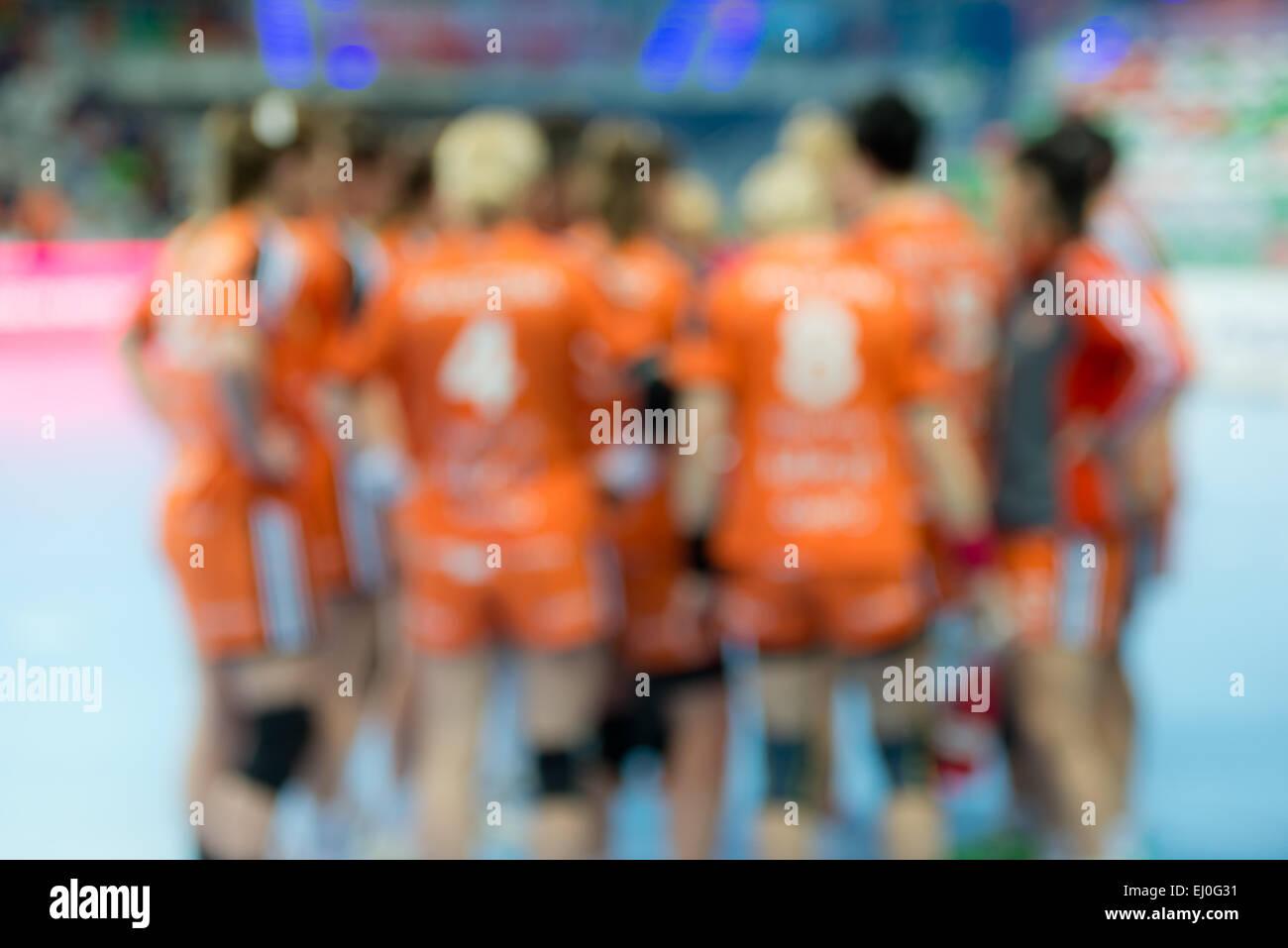 Blurred women handball team. - Stock Image