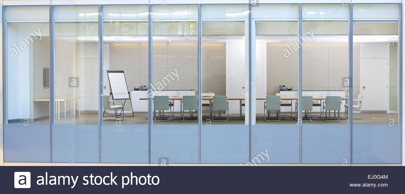 View through window, of office meeting room - Stock Image