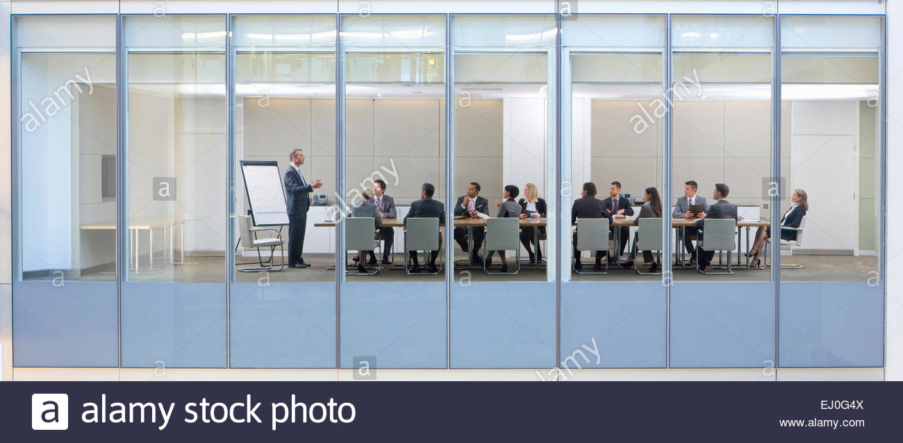 View through window, of business meeting - Stock Image