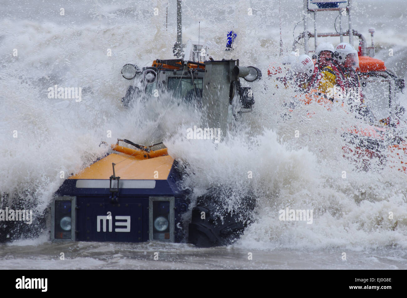 Recovering lifeboat in Stormy sea, Ciccieth, Lleyn Peninsula - Stock Image
