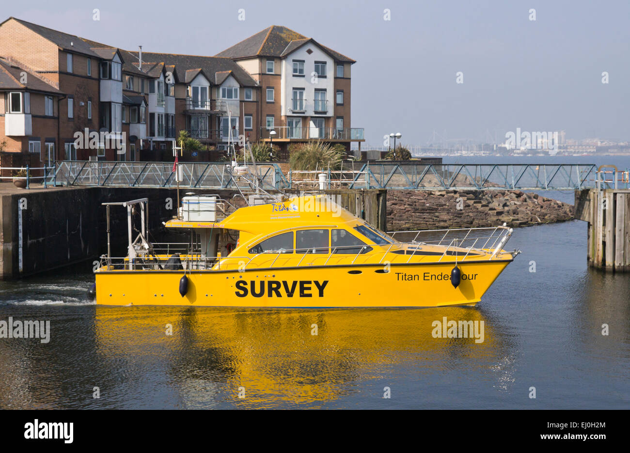 MV Titan Endeavour a survey vessel for Titan Environmental surveys Ltd, Penarth Marina. - Stock Image