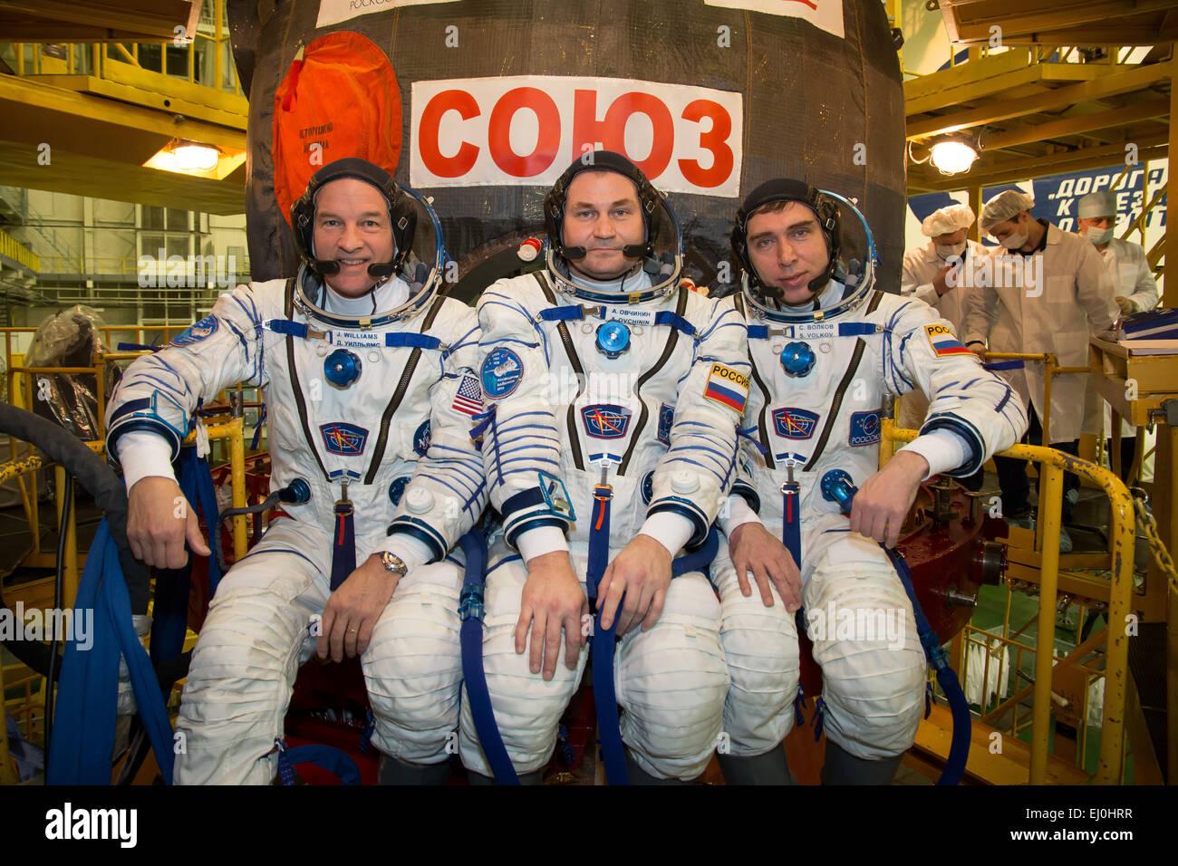 International Space Station Expedition 43 backup crew members cosmonauts NASA Astronaut Jeff Williams, left,  cosmonauts - Stock Image