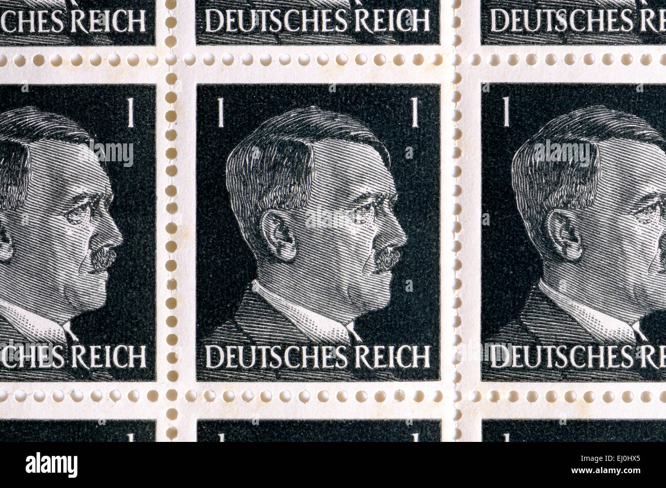 German 1pf stamps of the Deutsches Reich showing Hitler's portrait - Stock Image