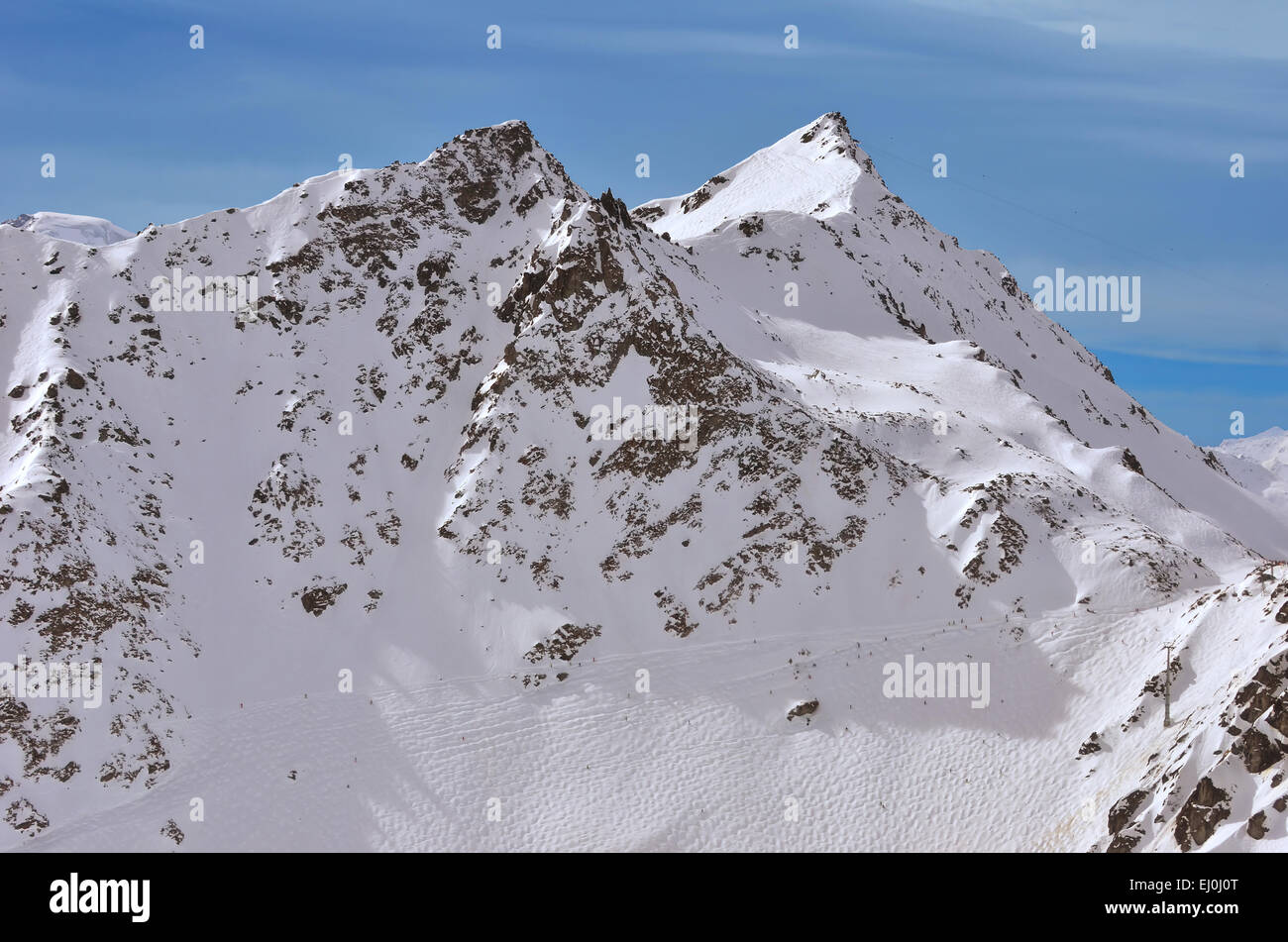 Off piste skiing in Verbier 4 Valleys, Switzerland. In the foreground, Tortin, with the Mt Gele behind. Viewed from - Stock Image