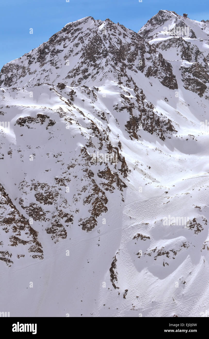 Immense off piste skiing in Verbier and Nendaz on the Mont Fort aand Tortin. Viewed from a helicopter - Stock Image