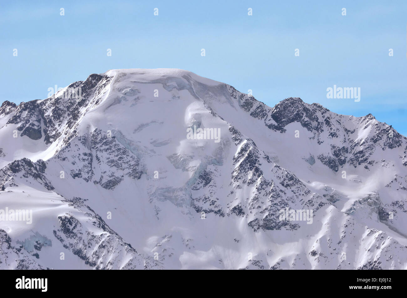 One of the highest alpine peaks, the north east face of the Grand Combin on the Swiss - Italian border, near to - Stock Image
