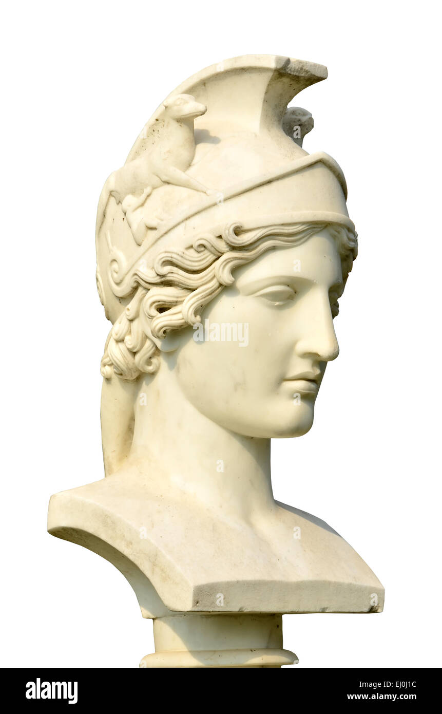 Isolation of an elegant marble bust of Artemis, the equivalent of the Roman Diana, goddess of the hunt - Stock Image