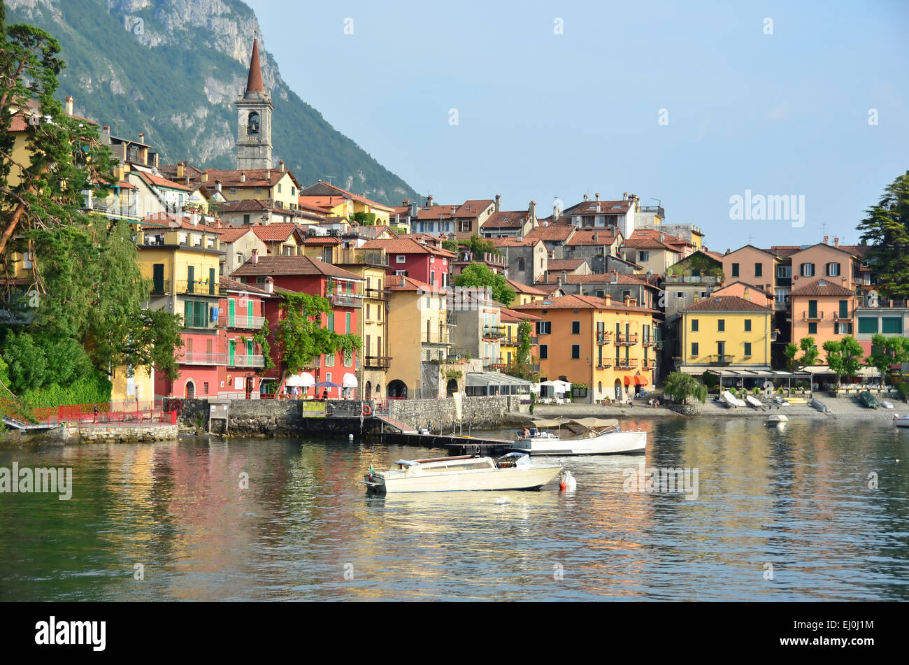 The pretty lake front village of Varenna on Lake Como in northern Italy - Stock Image