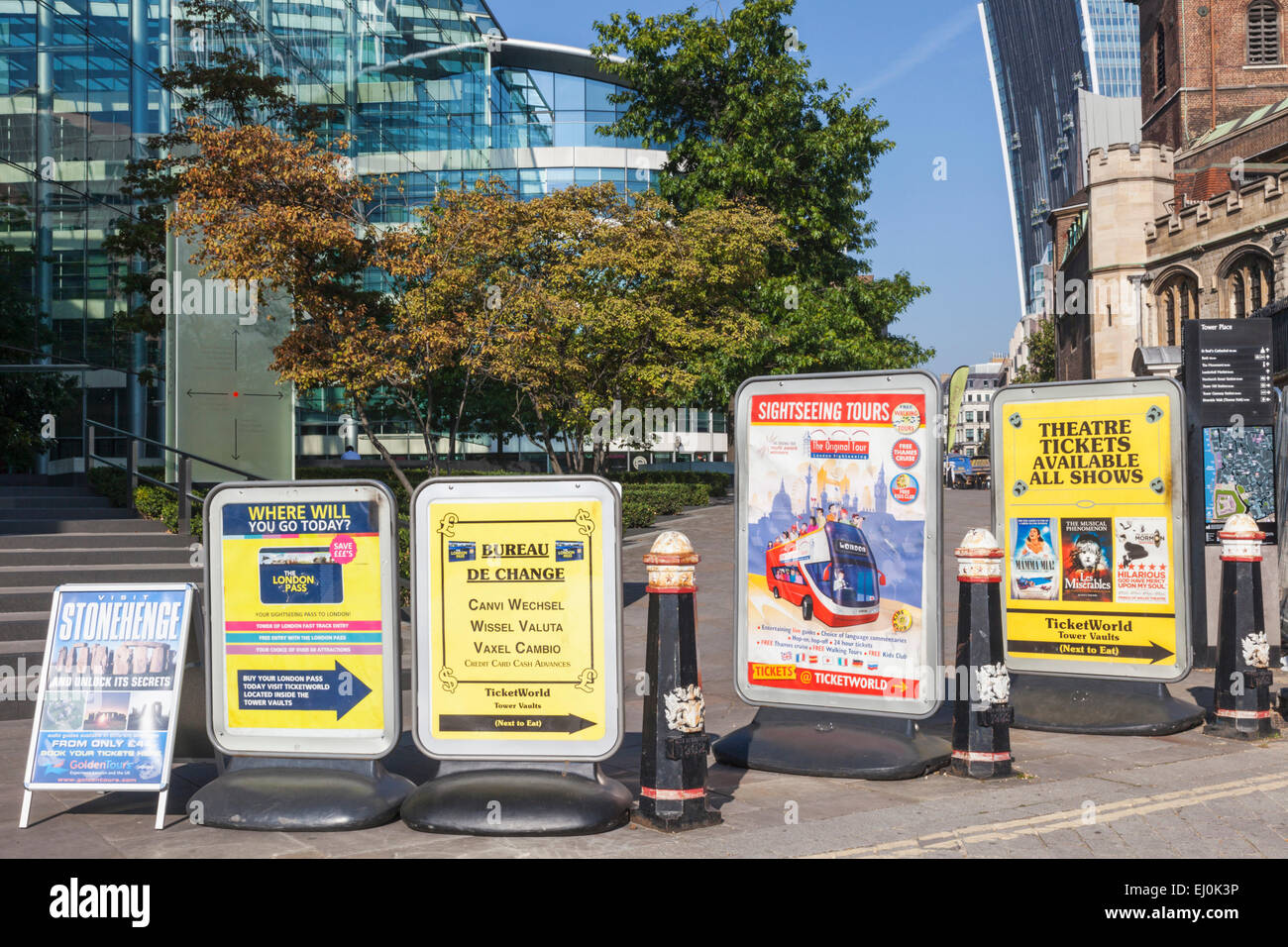 England, London, Advertising Billboards Blocking Footpath Stock Photo