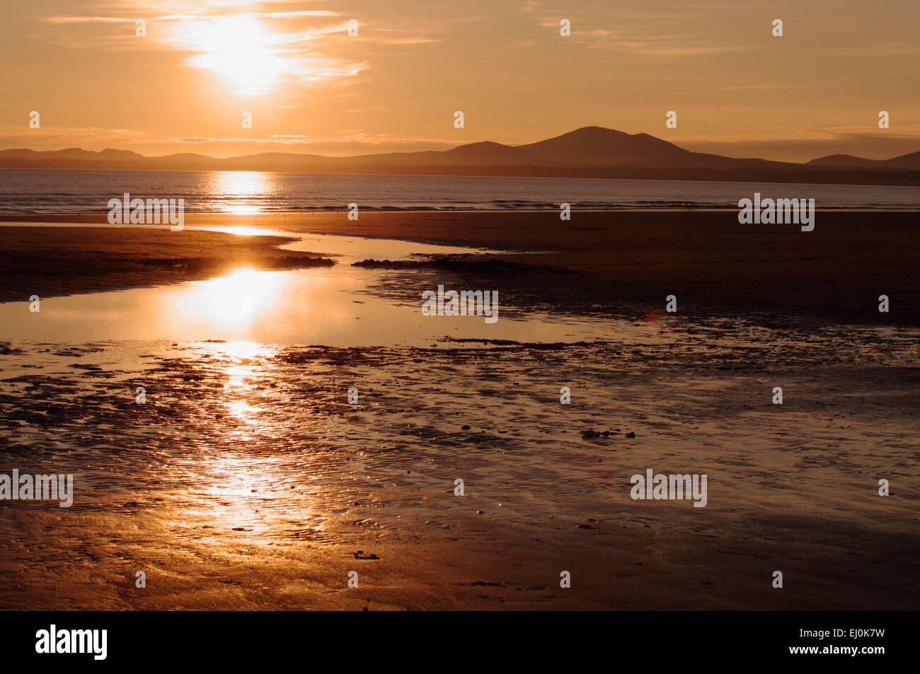 Sunset, Harlech Beach, North West Wales - Stock Image
