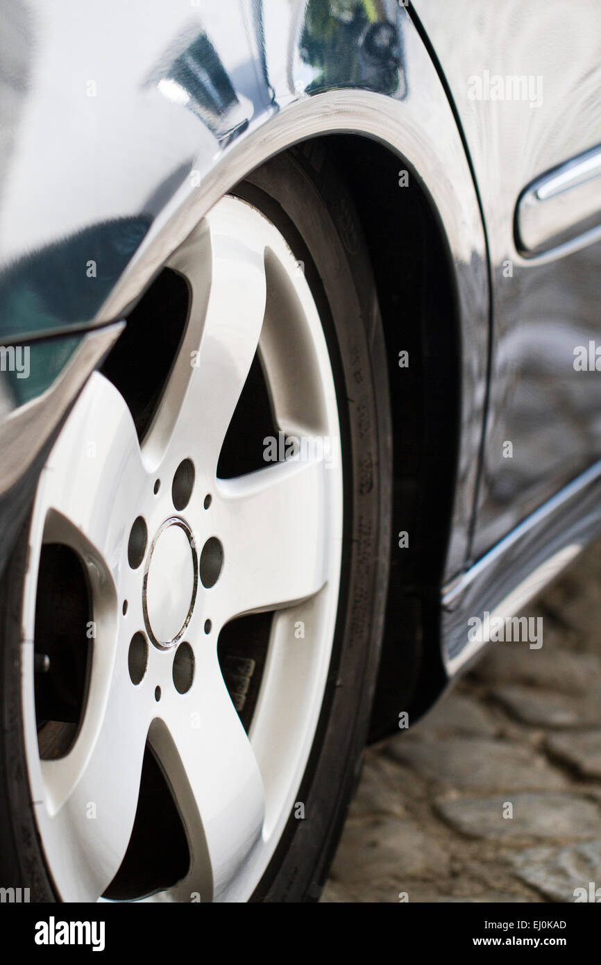 Close up detail of the rear end wheel of a automobile. - Stock Image