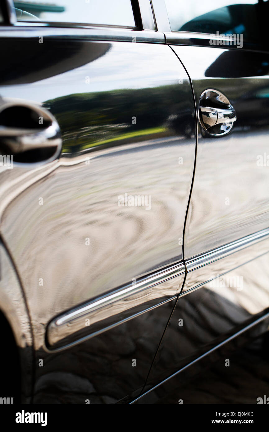 Close up detail of the door sides of a automobile. - Stock Image