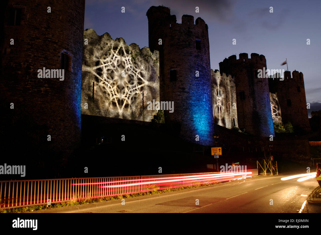 Conwy Castle, laser show - Stock Image