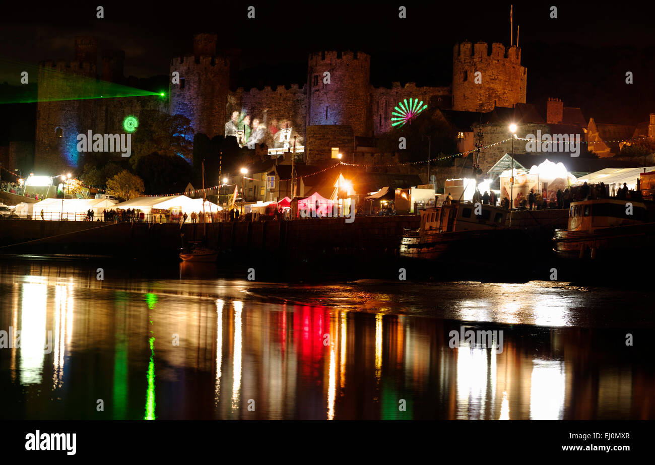 Conwy Castle, BLINC Light and Laser show - Stock Image