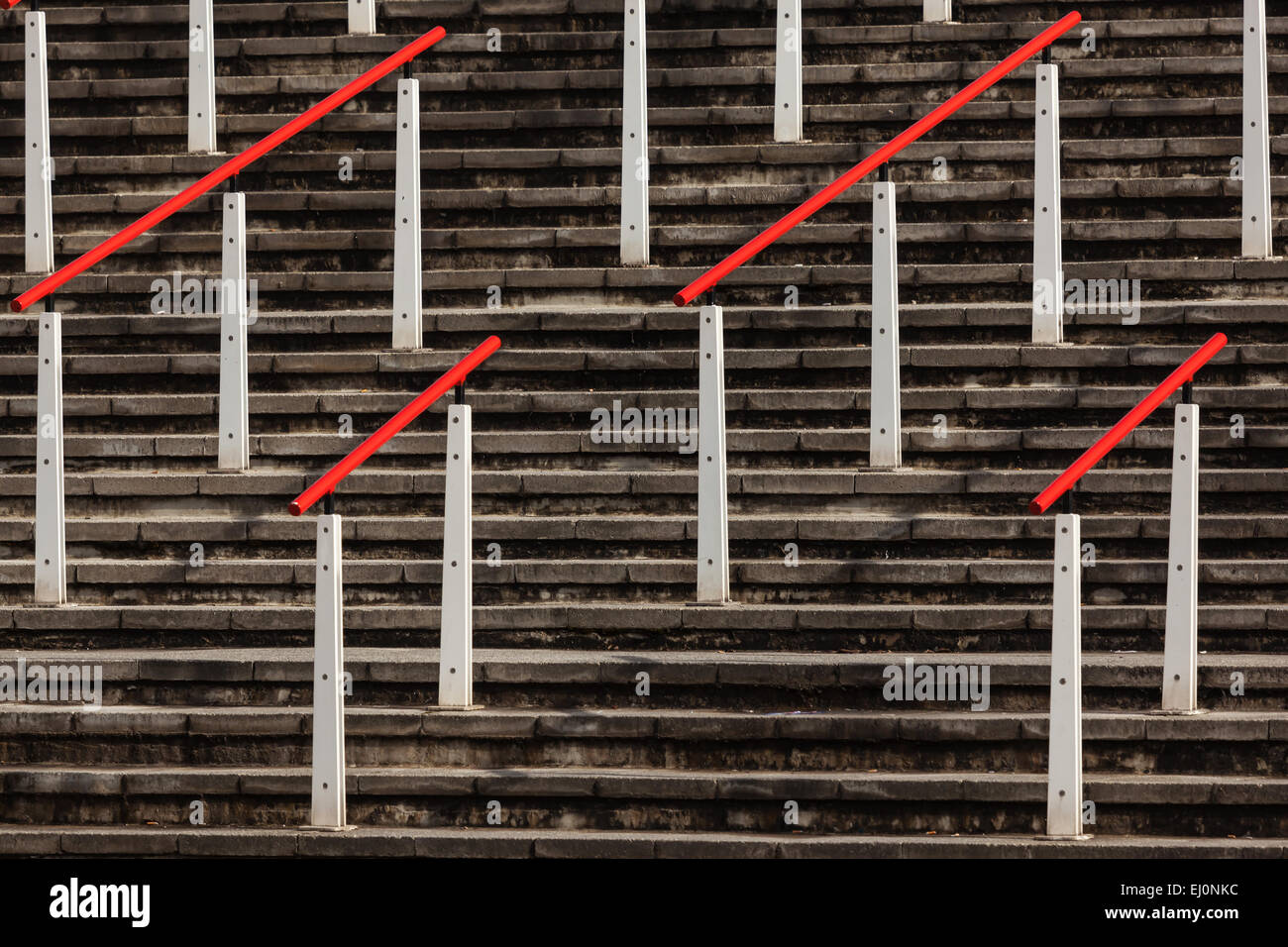Steps with handlebars by Excel building, London - Stock Image