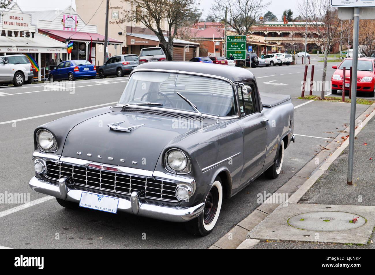Vintage gray Holden automobile on the streets of Daylesford, a small town in rural Victoria in Australia. - Stock Image