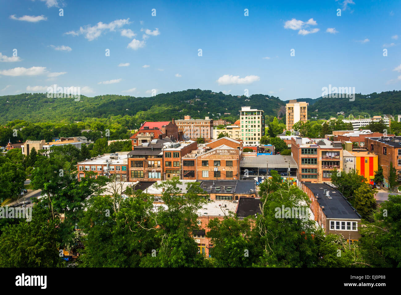 View of buildings from a parking garage in Asheville, North Carolina. - Stock Image