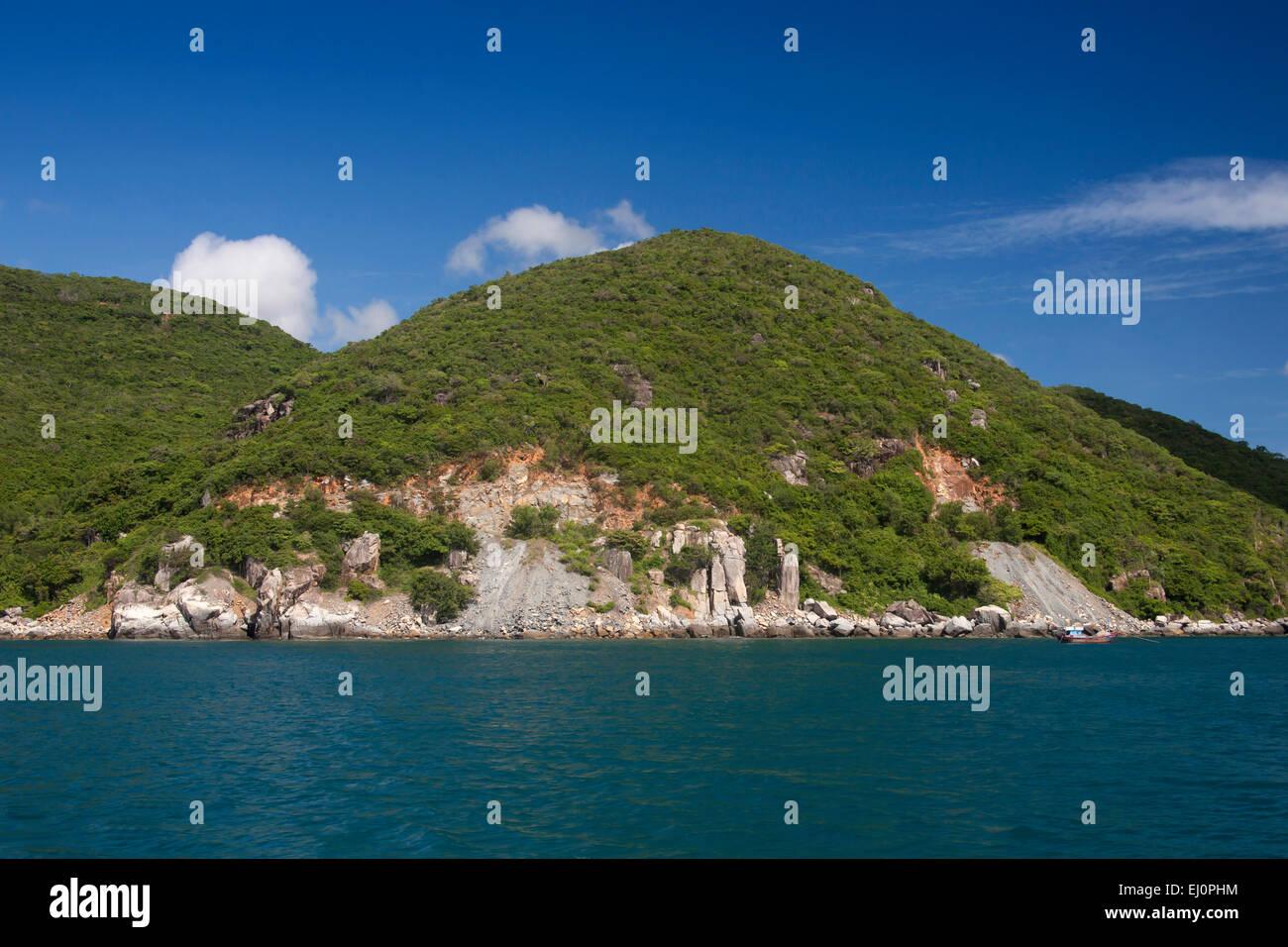 Hon, Mot, bay, Vinpearl, island, South China Sea, sea, Asian, Asia, outside, mountains, mountainous, landscape, - Stock Image