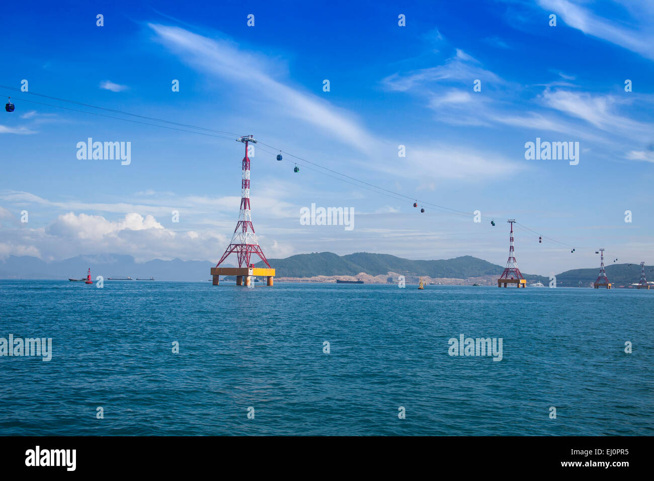Vinpearl, island, Nha, Trang, South Vietnam, architecture, water, gondola, cable railway, transportation, Vietnam, - Stock Image