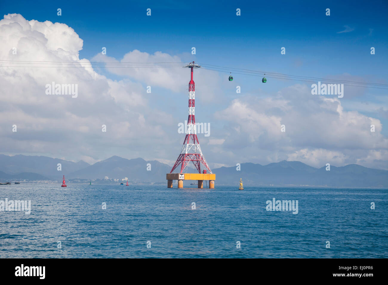 Vinpearl, island, Nha, Trang, South Vietnam, architecture, water, gondola, aerial, cable railway, transportation, - Stock Image
