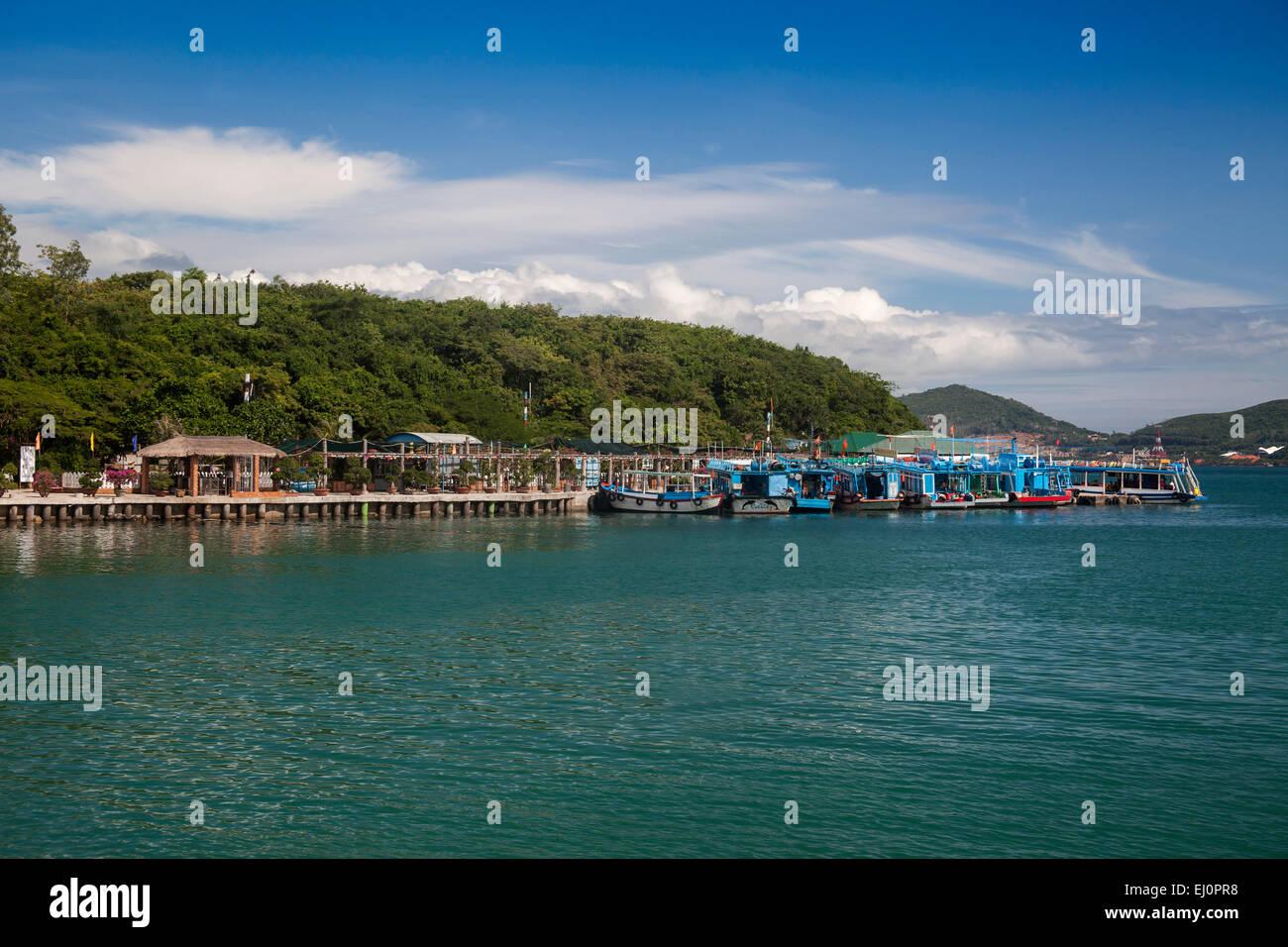 Bay, Vinpearl, island, South China Sea, sea, Asian, Asia, outside, mountains, mountainous, landscape, island, scenery, - Stock Image