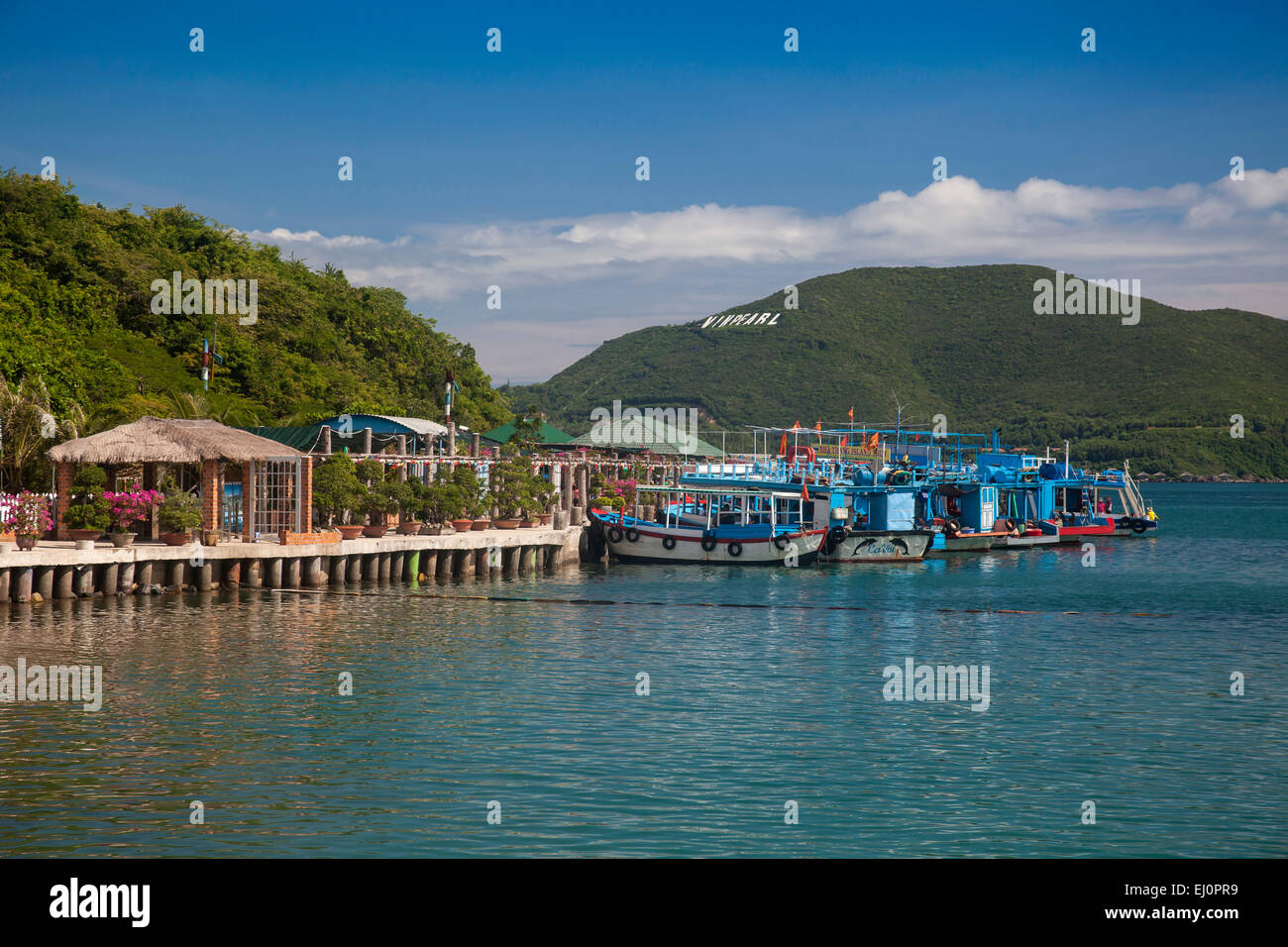 Bay, Vinpearl, island, South China Sea, sea, Asian, Asia, outside, mountains, mountainous, landscape, island, scenery, - Stock Image