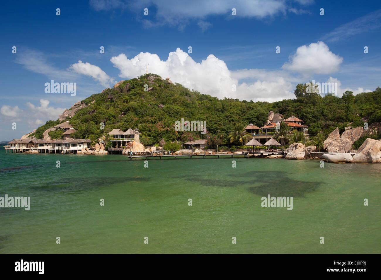 Bath bay, beach, hotel, little, bungalow, Resort, Ngoc, Suong, Cam, Ranh, bay, South China Sea, sea, Asian, Asia, - Stock Image