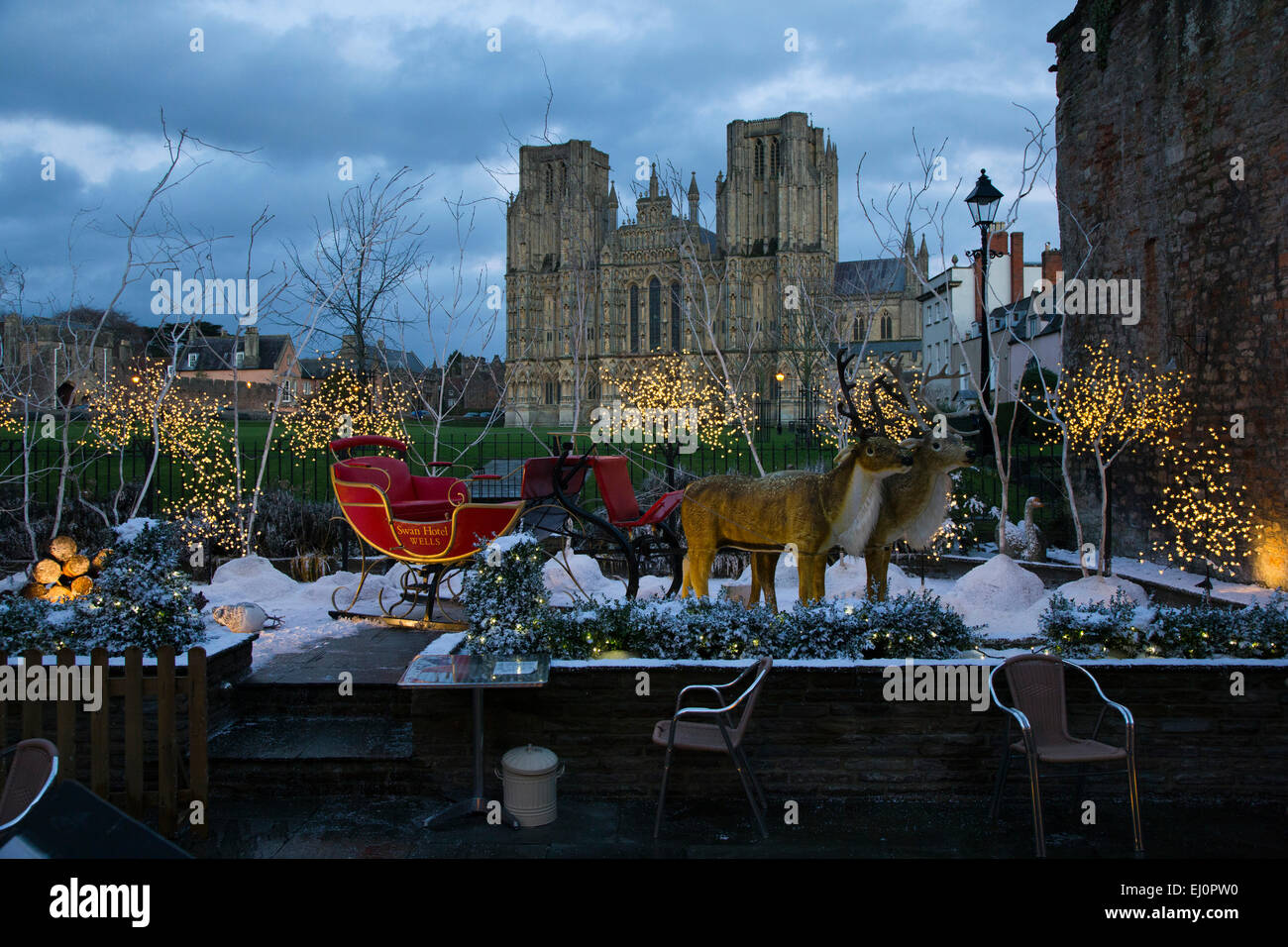 reindeer, slay, sled, artificial, snow, models, Christmas, scene, Wells, Somerset, south-west, England, Britain, - Stock Image