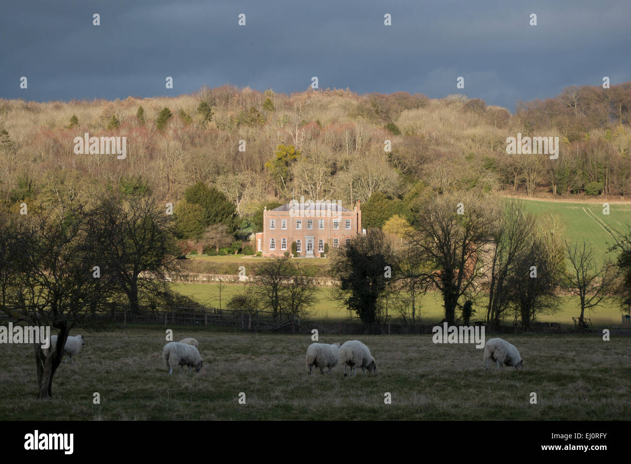 A view  of an imposing house near the village of Hambleden Buckinghamshire England - Stock Image