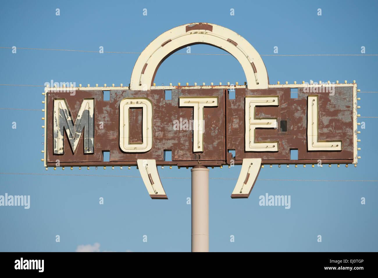 USA, United States, America, Wyoming, Lovell, motel, sign, Americana, horse shoe - Stock Image