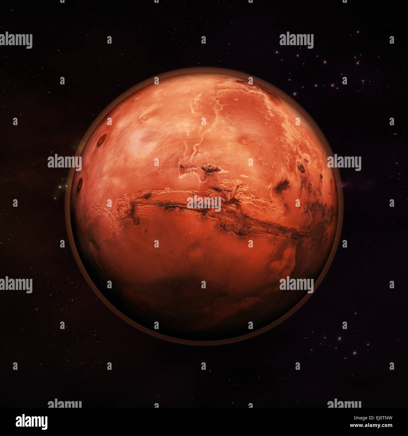 Planet Mars in space, red rock planet with red atmosphere with stars in the background. Elements of this image supplied - Stock Image