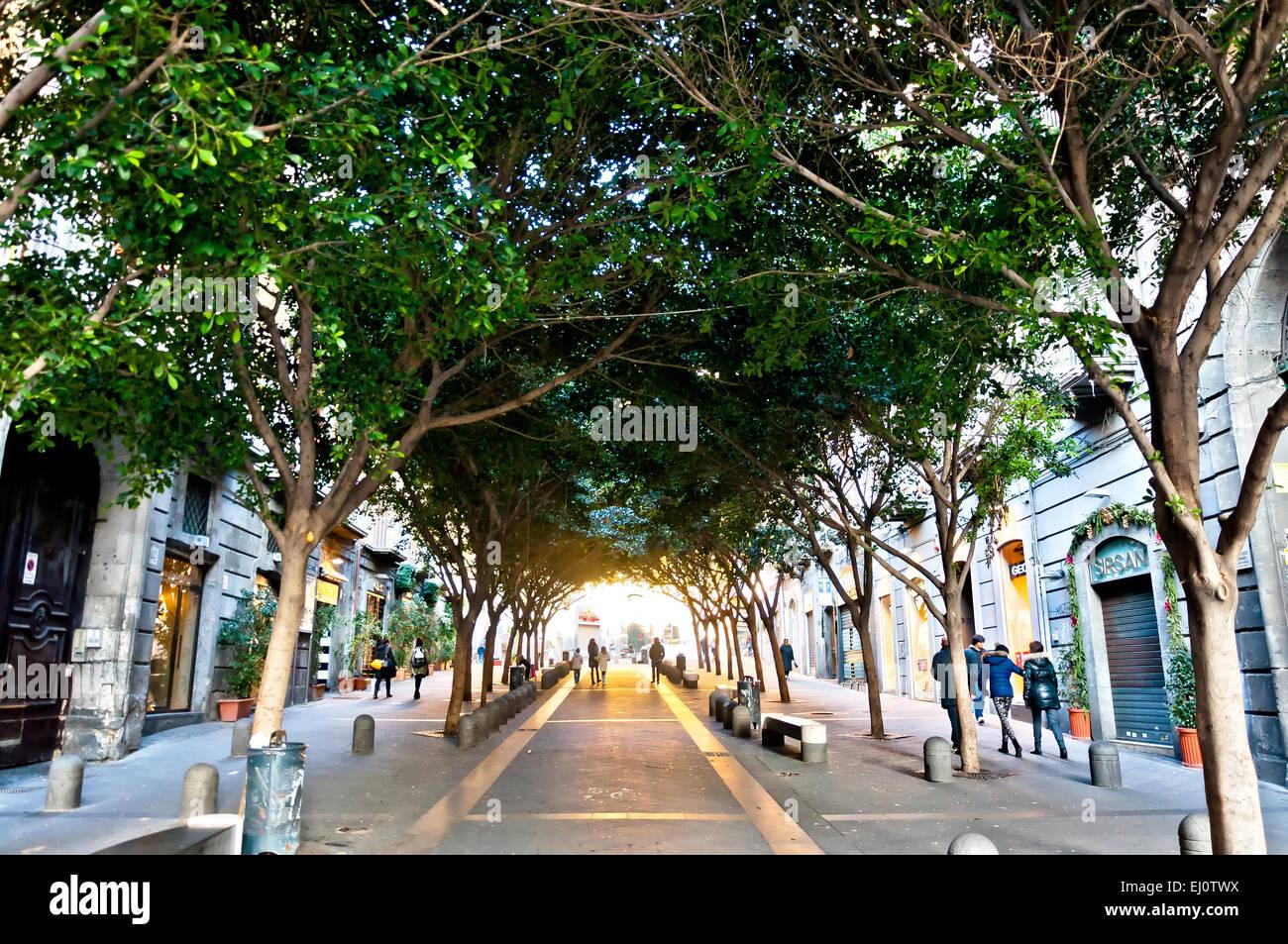famous Via Chiaia street view in Naples, Italy. - Stock Image