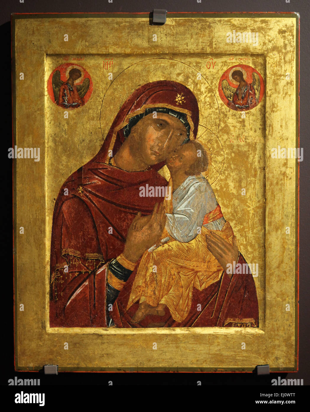 Russian icon of Mother of God Glykophilousa painted by Byzantine artist from the late 14th century to early 15th Stock Photo