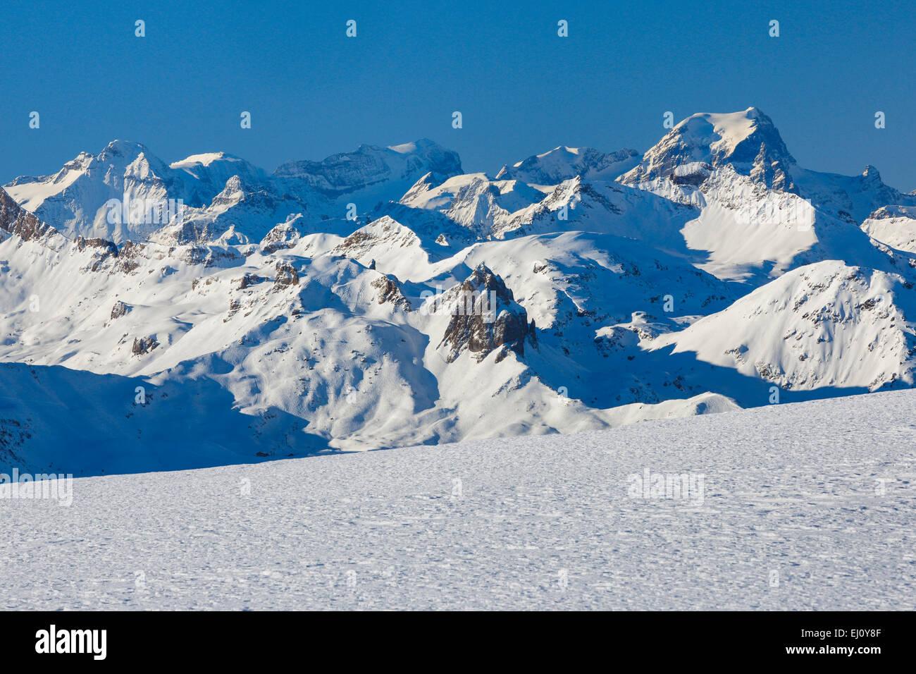 Alps, view, mountain, mountain panorama, mountains, mountain massif, Chäserrugg, mountains, Glarus Alps, sky, - Stock Image