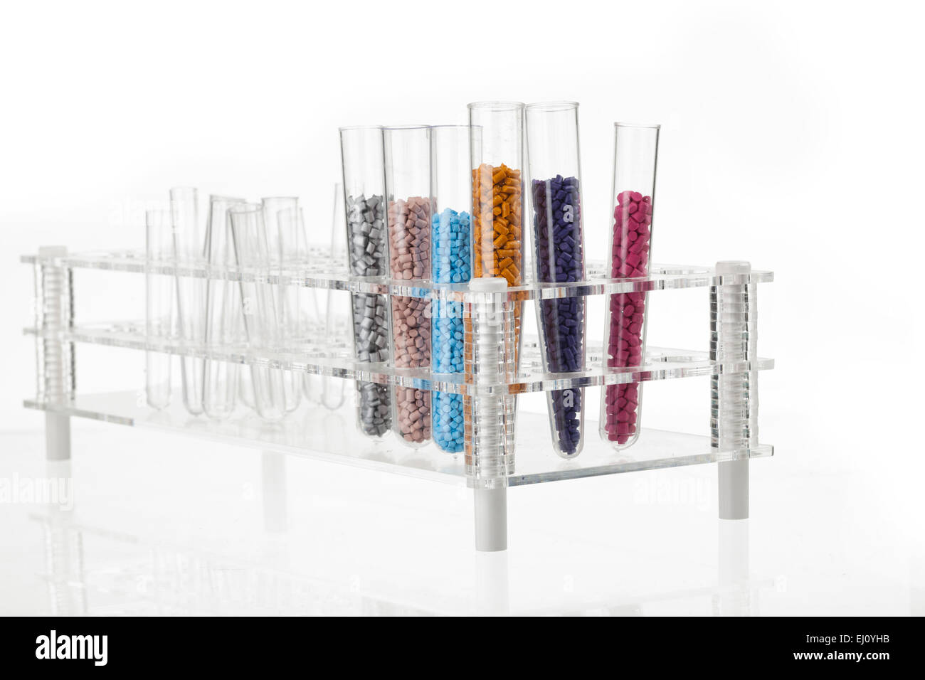 plastic granules for molding on the podium - Stock Image