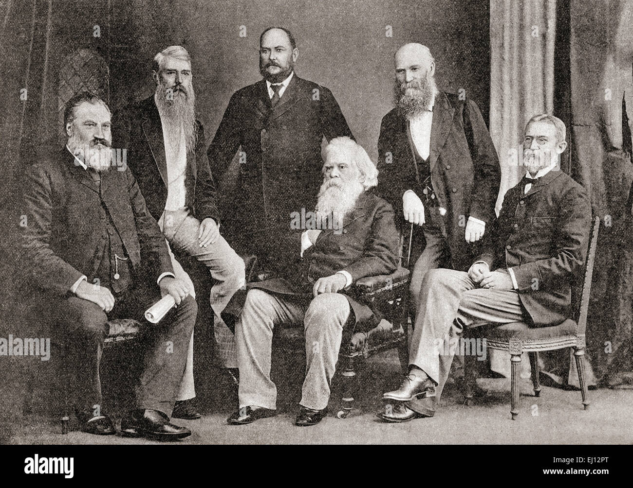 Six Australian premiers, from left to right:  Thomas Playford,  1837 – 1915.  Premier of South Australia.   Sir - Stock Image
