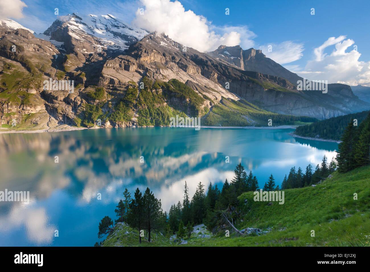 Lake of Oeschinen, Switzerland, Europe, canton Bern, Bernese  Oberland, Kandertal, mountain lake, lake, mountains, - Stock Image