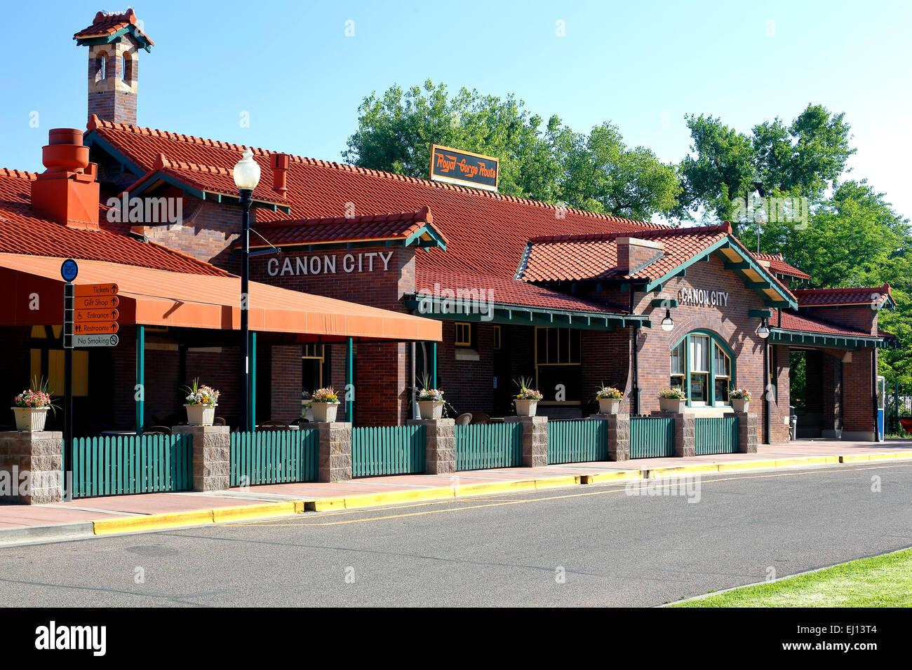 Santa Fe Depot, home of Royal Gorge Route Railroad, Canon City, Colorado USA - Stock Image